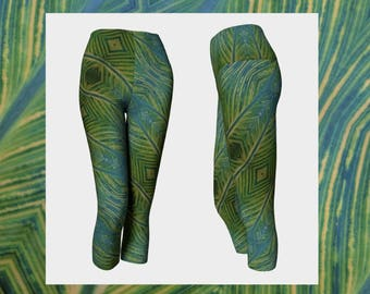 CAPRIS / Tights / Leggings / Yoga Pants / Gymwear / Activewear / Yoga / Patterned Leggings / Patterned Tights / Luxe Leggings / Green