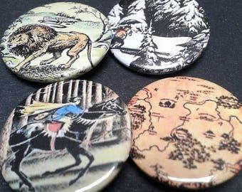 Narnia badges - 25 mm - Aslan - Lucy - Mr Tumnus - Prince Caspian - Map - Classic - Book - Pin back button