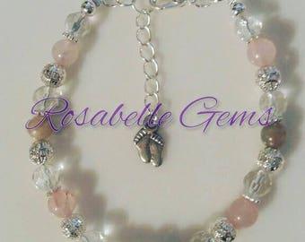 Fertility Bracelet, Moonstone Bracelet, Rose Quartz Bracelet, Fertility Jewelry, Moonstone, Rose Quartz, Gift For Her, PCOS, Conceive A Baby