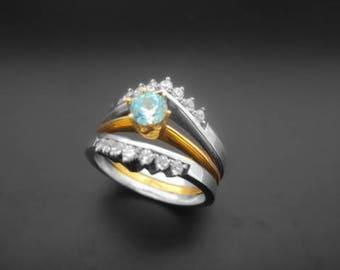 Diamond Ring, 14k Yellow Gold, 14k White Gold,Zirconia,  Spinel