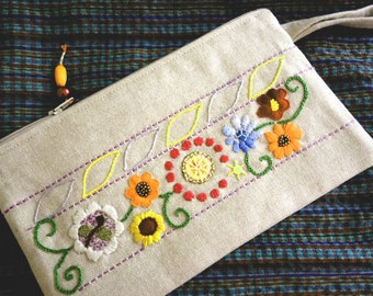 "Hand embroidered, beaded floral pattern ""Indian inspiration"" Kit"