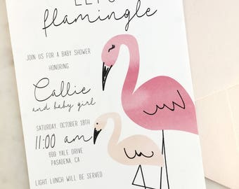 Printable Let's Flamingle Baby Shower Invitation