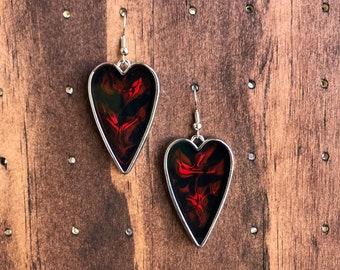 Fiery Red Heart Earrings