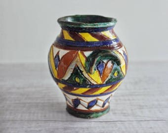 Small Ceramic Vase - Vintage Majolica Pottery - Made in Italy - Italian Ceramic Vase