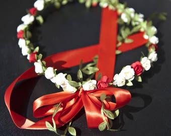 Strawberry vanilla tones flower Crown