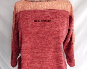 a fine mesh sweater pink mottled