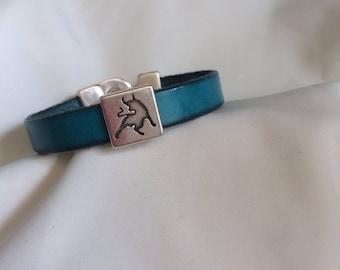 Leather 10 mm blue green bracelet