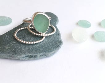 Sea glass ring, handmade, mint, sea glass jewellery, beach, unique, gifts for her, beach glass, sterling silver, genuine, english sea glass