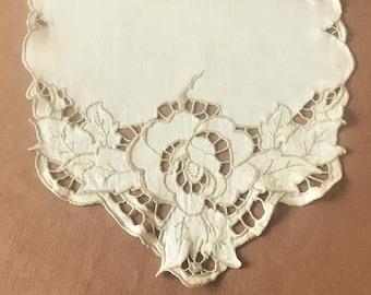 Vintage Table Runner Ecru Linen Cut Work Embroidery, Vintage Dresser Scarf, Side Board Scarf, Credenza Scarf, Vintage Table linens,