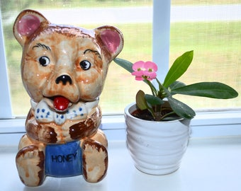 Vintage Honey Bear Jar with Red Spoon Tongue
