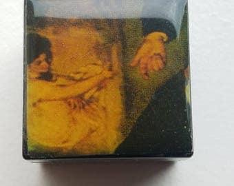 Tiny Small Black Pill Box with Scene