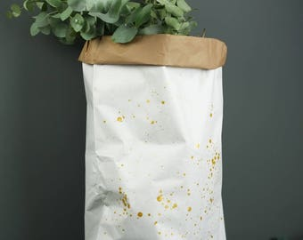 LARGE GOLD SPLASH white paper bag, Christmas sack, 70cm