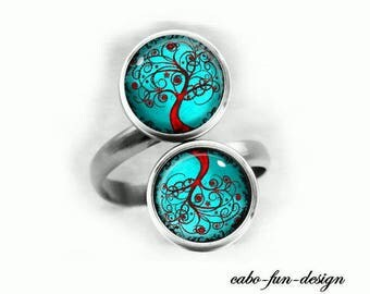 Double ring silver cabochon ring finger ring round cabochons 12 mm FANTASY TREE