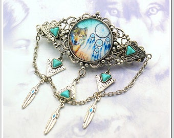 Hair clip Indian wolf and Dream catcher Raw-sil-013