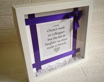 Chance made us colleagues, fun and laughter, made us friends, colleague friend, personalised, purple,  quote frame, Christmas gift for her