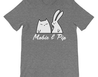 Mobie and Pip - Bunny and Cat Unisex Casual Cotton t-shirt