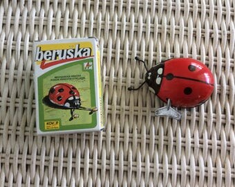 Vintage Tin Toy Key Wind Up, New in Box, Made in  Czech Republic, Lady Bug, So Neat!