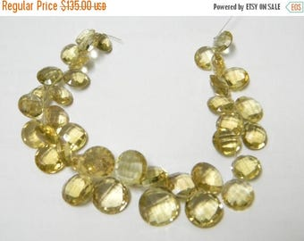 8 inch strand--9 - 13 mm approx-- Fine Quality Champagne Quartz Faceted Coin Briolettes