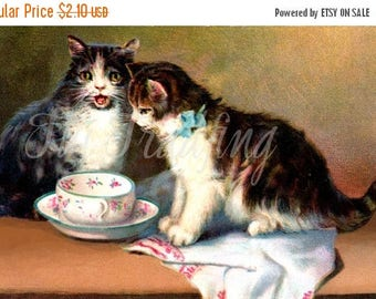 Digital Cat Image, Card Making Graphic, Cat Art, Victorian Card Images, Kittens, Tea Cup and Saucer