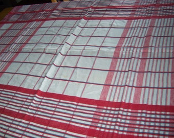 Vintage red and blue plaid check tablecloth