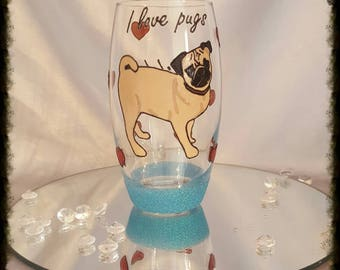 Hand painted love pugs tumbler glass