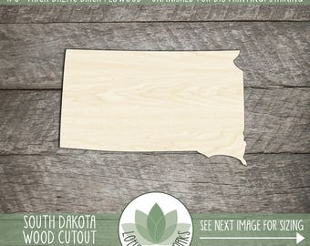 South Dakota, Unfinished Wood South Dakota Laser Cut Shape, DIY Craft Supply, Many Size Options