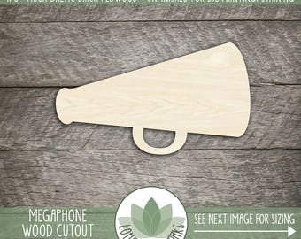 Wood Megaphone Wood Cut Shape, Unfinished Wood Megaphone Laser Cut Shape, Cheerleading Megaphone, DIY Craft Supply, Many Size Options