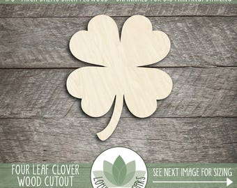 Four Leaf Clover Wood Shape, Wooden Four Leaf Clover, St. Patrick's Day Decoration, Unfinished Wood For DIY Projects, Many Size Options