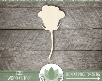 Rose Wood Cutout, Wooden Rose Shape, Unfinished Wood For DIY Projects, Many Size Options, Wood Laser Cut Shapes, Wood Shape Cutouts