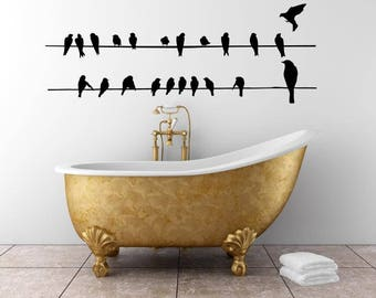 Double Line Of Birds On A Wire Vinyl Wall Art Decal