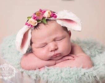 Newborn Easter Bunny Rabbit Floral Tieback