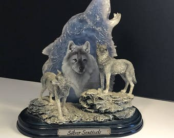 BRADFORD EXCHANGE WOLF figurine statue sculpture Keepers of Sacred Watch crystal by Eddie Lepage Silver Sentinels 1st first issue