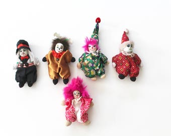 Creepy Clown IT Jester Miniature Doll Babies Porcelain and Cotton Faces Chinese Holiday scary clown