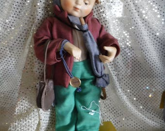 Vintage Hummel Doll with Satchel