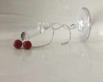 Handmade polymer clay cherry necklace