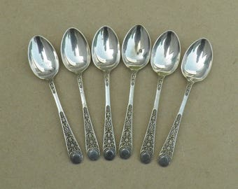 Teaspoons - Set of 6 - Silver Plated - Lovely Design - Distressed/Worn/Shabby Chic - Vintage Silverplate