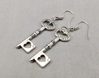 Skeleton Heart Key Earrings - Gothic Jewelry Steampunk Fashion Antique Silver