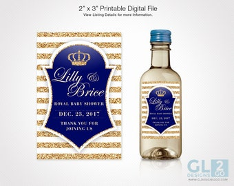 Mini Wine Bottle Label w/ Prince Crown for Boy Baby Shower. Printable Blue, White & Gold Royal Little Prince Theme Label for Party Favor