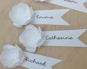 Paper Flower Place Cards | Wedding Name Cards | Reception Place Holders
