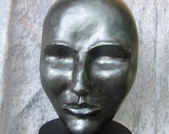 "figurative sculpture gray metallic and Pearlescent ""Suns woman head"" - unique"