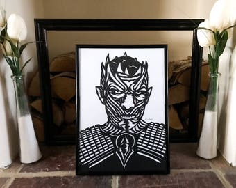 The Night King, Game of Thrones Papercut Art, Framed Paper Art, Game Of thrones Art, GOT Die Cut Template, Game of Thrones Gift, Night King