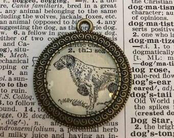 Handmade Vintage Dictionary Dog Necklace - Irish Setter