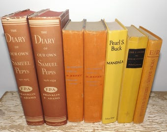 Old books decoration,yellow,orange,rust,set of 7,Diary of Samuel Pepys,complete works of O. Henry,Pearl S. Buck,mid century book decor