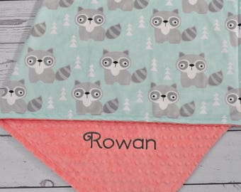 Raccoon Baby Blanket-Personalized Raccoon baby blanket-Raccoon Minky blanket-Aqua Mint Personalized Minky baby blanket Boy Girl Blanket
