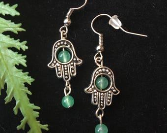 Green Aventurine Hamsa Earrings