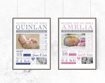 Birth detail, baby gift, birth announcement, wall art, nursery decor, digital print, photo