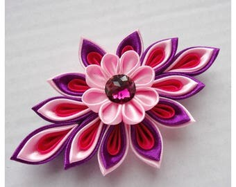 Satin Flower Hair clip/Hairclip with pink and purple Kanzashi Flower/Satin French Barrette/Satin hair accessory