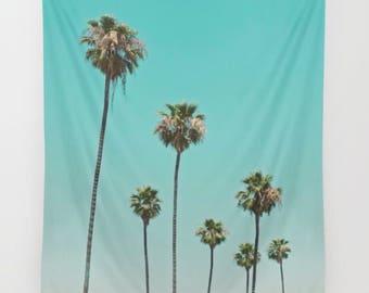 Palm trees tapestry, dorm decor, palm tree photo, boho decor, large wall art, beach house, tropical, nursery art, girls room