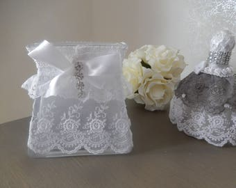 vase pot cotton make-up removal glass wrapped with lace and satin bow with Rhinestone decor bathroom
