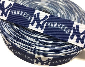 7/8 New York Yankees Ribbon by the Yard, Yankees Grosgrain Ribbon, NY Yankees Ribbon, Baseball Ribbon, MLB Ribbon